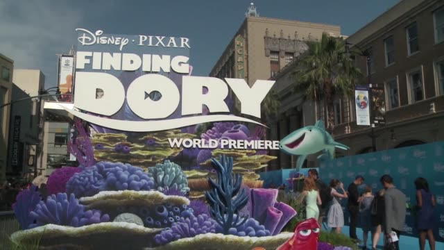 ellen degeneres and the cast of finding dory attend the films premiere at the el capitan theatre in hollywood - ellen degeneres stock videos & royalty-free footage