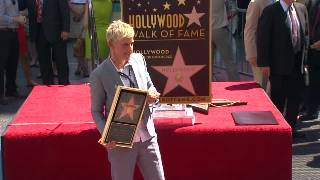 vídeos y material grabado en eventos de stock de ellen degeneres at ellen degeneres honored with star on the hollywood walk of fame ellen degeneres at ellen degeneres honored with st on september 04... - ellen degeneres