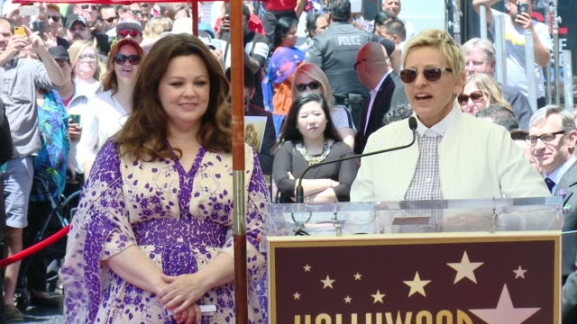 speech ellen degeneres at melissa mccarthy honored with star on the hollywood walk of fame on may 19 2015 in hollywood california - ellen degeneres stock-videos und b-roll-filmmaterial