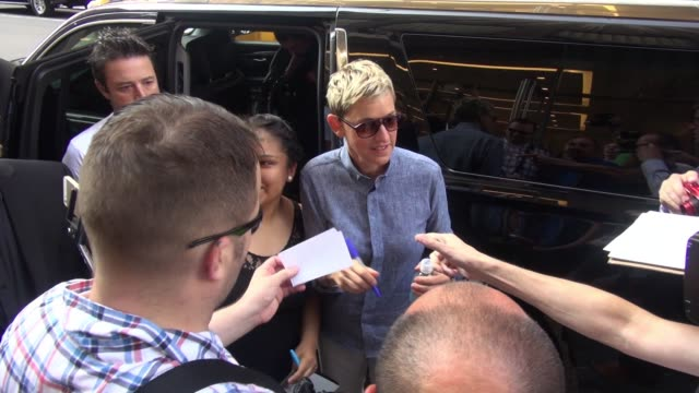 ellen degeneres at siriusxm satellite radio signs for and poses with fans on september 08 2015 in new york city - ellen degeneres stock videos & royalty-free footage