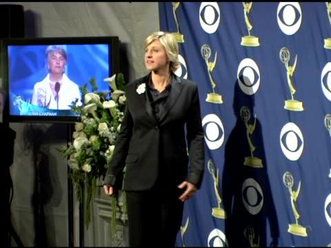 ellen degeneres at the 2005 emmy awards press room at the shrine auditorium in los angeles california on september 19 2005 - ellen degeneres stock-videos und b-roll-filmmaterial