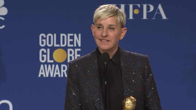 vídeos y material grabado en eventos de stock de speech ellen degeneres at the 77th annual golden globe awards press room at the beverly hilton hotel on january 05 2020 in beverly hills california - ellen degeneres