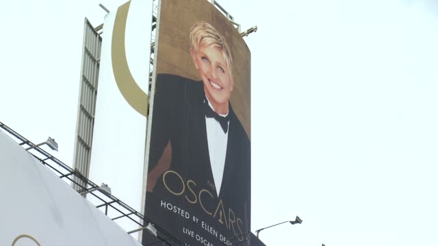 SIGNAGE Ellen DeGeneres Billboard 86th Annual Academy Awards Arrivals at Hollywood Highland Center on March 02 2014 in Hollywood California