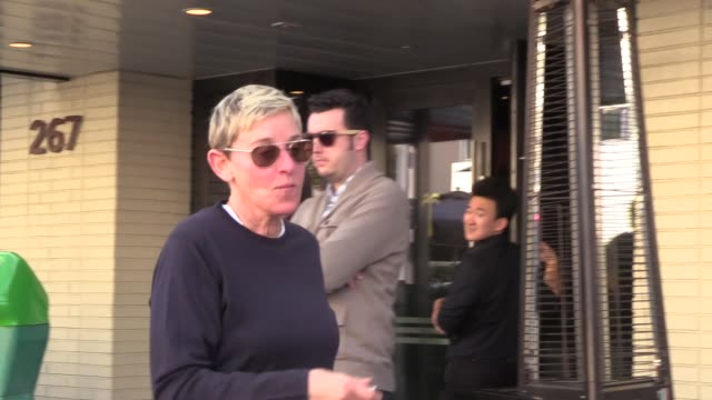 vídeos y material grabado en eventos de stock de interview ellen degeneres calls donald trump a racist while out in beverly hills in celebrity sightings in los angeles - ellen degeneres