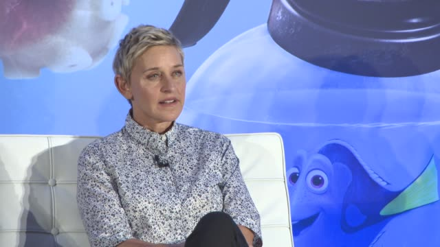 vídeos y material grabado en eventos de stock de interview ellen degeneres on if there are any points in her career is would like to forget at 'finding dory' press conference on july 11 2016 in... - ellen degeneres