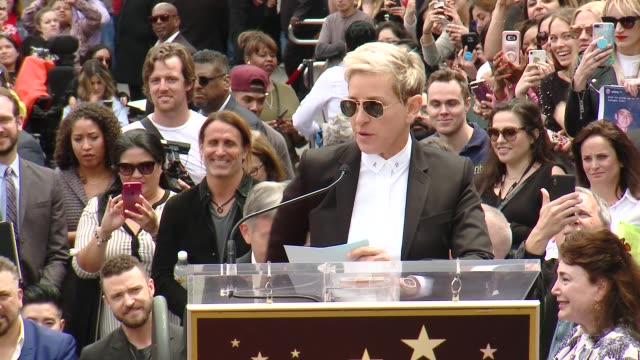 speech ellen degeneres on the influence and career of nsync at the *nsync honored with a star on the hollywood walk of fame on april 30 2018 in... - ellen degeneres stock-videos und b-roll-filmmaterial