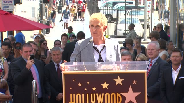ellen degeneres on traveling to hollywood when she was young and on being honored with her star at ellen degeneres honored with star on the hollywood... - ellen degeneres stock-videos und b-roll-filmmaterial
