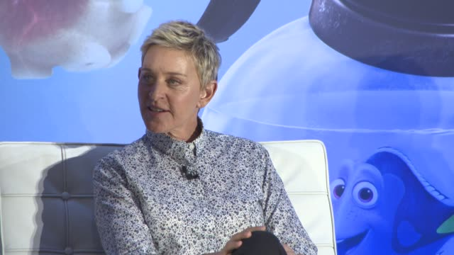 interview ellen degeneres on what it was like in the studio recording the voiceovers andrew stanton making her redo a lot of takes at 'finding dory'... - ellen degeneres stock videos & royalty-free footage