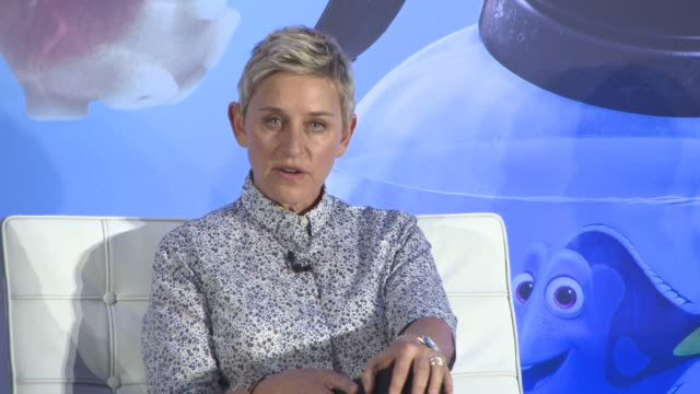 vídeos y material grabado en eventos de stock de interview ellen degeneres on when 'finding nemo' came out when her talkshow came out how it changed her life at 'finding dory' press conference on... - ellen degeneres