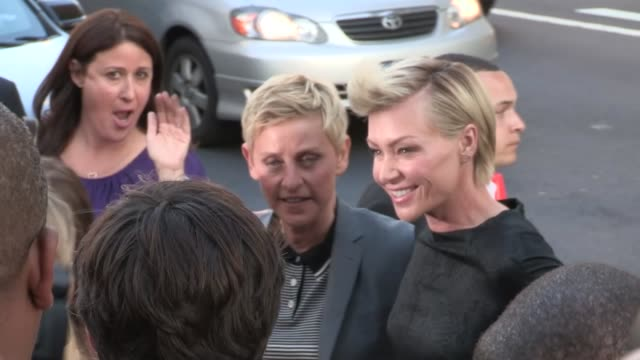 ellen degeneres portia de rossi arrive at the arrested development season 4 premiere in hollywood 04/29/13 - portia de rossi stock videos and b-roll footage