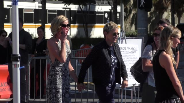 ellen degeneres portia de rossi arriving to the teen choice awards at galen center in los angeles in celebrity sightings in los angeles - portia de rossi stock videos and b-roll footage