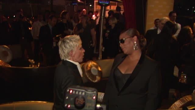 vídeos y material grabado en eventos de stock de ellen degeneres queen latifah at the covergirl cosmetics' 50th anniversary party at west hollywood ca - queen latifah