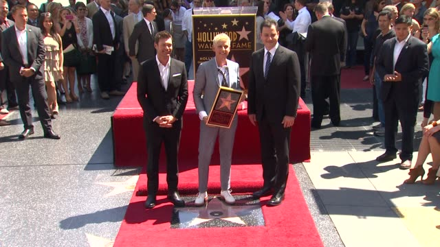 ellen degeneres ryan seacrest and jimmy kimmel at ellen degeneres honored with star on the hollywood walk of fame ellen degeneres ryan seacrest and... - jimmy kimmel stock videos and b-roll footage