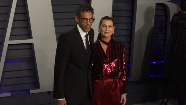 ellen pompeo and chris ivery at 2019 vanity fair oscar party hosted by radhika jones at wallis annenberg center for the performing arts on february... - vanity fair oscar party stock videos & royalty-free footage