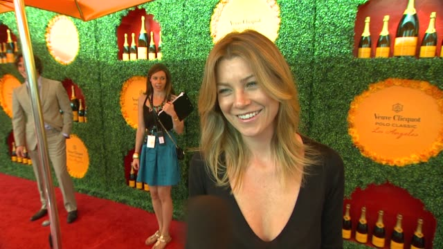 ellen pompeo on what brings her out if this is her first polo match and how she decided on her polo look also talks about the new season of grey's... - cast video stock e b–roll