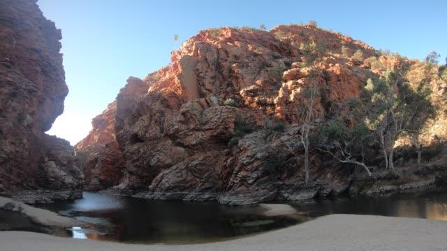 ellery creek big hole west macdonnell national park northern territory of australia - northern territory australia stock videos & royalty-free footage