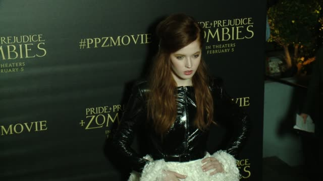Ellie Bamber at the 'Pride And Prejudice And Zombies' Los Angeles Premiere at Harmony Gold Theater on January 21 2016 in Los Angeles California
