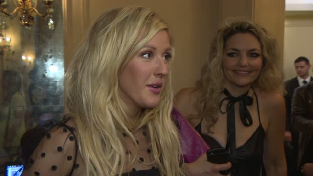 vídeos de stock, filmes e b-roll de interview ellie goulding on her speech fear of public speaking winning 'best solo act' award at q awards 2013 at the grosvenor house hotel on october... - ellie goulding