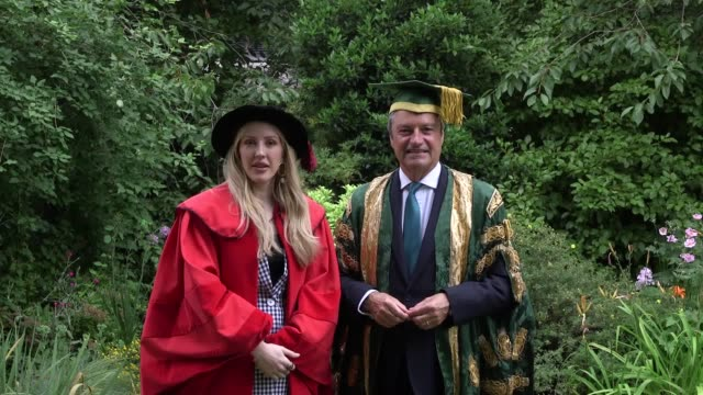 ellie goulding stands outside canterbury cathedral before she receives an honorary degree from the university of kent the singer who is a drama and... - chancellor stock videos and b-roll footage