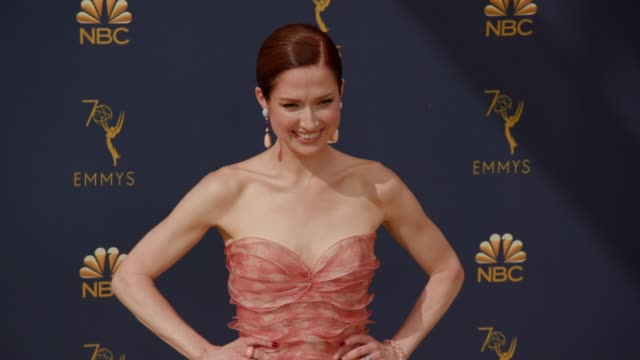 ellie kemper at the 70th emmy awards arrivals at microsoft theater on september 17 2018 in los angeles california - 70th annual primetime emmy awards stock videos and b-roll footage