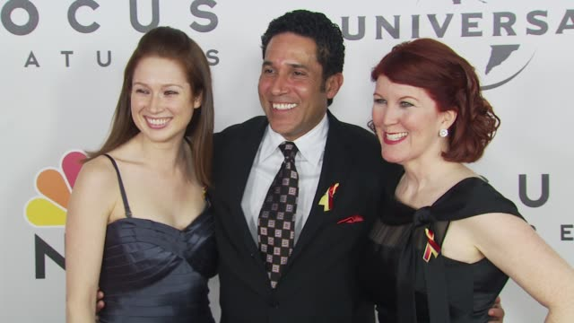 ellie kemper, oscar nu_ez, kate flannery at the nbc universal 67th annual golden globe awards after-party at beverly hills ca. - oscar party stock videos & royalty-free footage