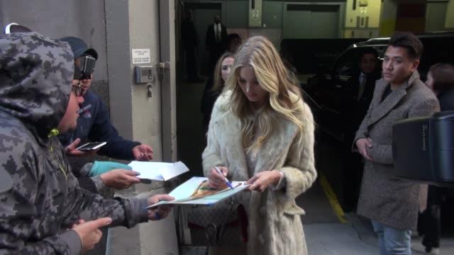 Elsa Hosk arrives at The Huffington Post Celebrity Sightings on December 03 2015 in New York City New York