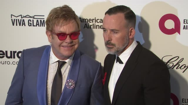 Elton John and David Furnish at 23rd Annual Elton John AIDS Foundation Academy Awards Viewing Party Sponsored By Chopard Neuro Drinks And Wells Fargo...