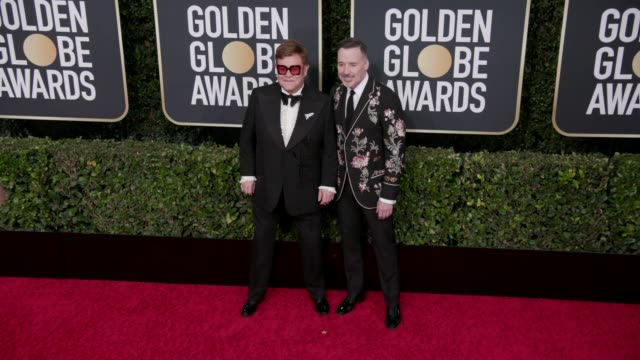 elton john and david furnish at 77th annual golden globe awards at the beverly hilton hotel on january 05, 2020 in beverly hills, california. - elton john stock videos & royalty-free footage