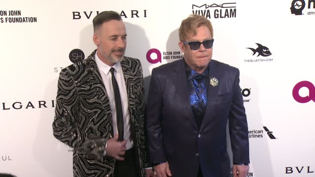 Elton John and David Furnish at Elton John AIDS Foundation Presents 24th Annual Academy Awards Viewing Party on February 28 2016 in West Hollywood...
