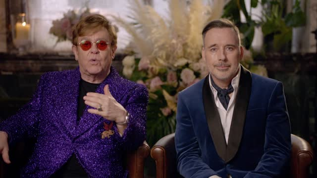 elton john and david furnish closing remarks at the 29th annual elton john aids foundation academy awards viewing party on april 25, 2021. - oscar party stock videos & royalty-free footage