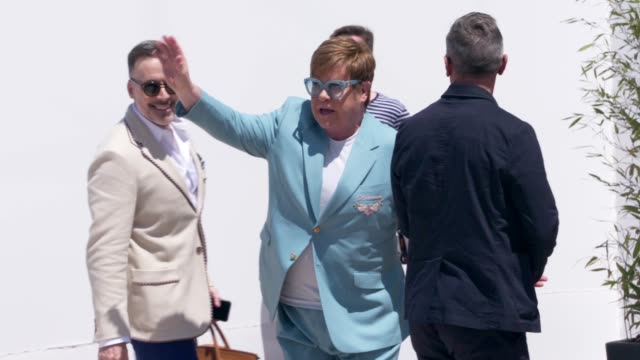 elton john at celebrity sightings in cannes on may 16, 2019 in cannes, france. - celebrity sightings stock videos & royalty-free footage