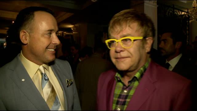 Elton John at men's Fashion Week Event ENGLAND London PHOTOGRAPHY*** General views of Elton John and David Furnish / Elton John and David Furnish...
