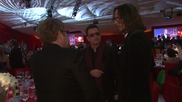 Elton John Bono Chris Cornell at Elton John AIDS Foundation Presents 21st Annual Academy Awards Viewing Party Sponsored By Chopard Neuro Drinks And...