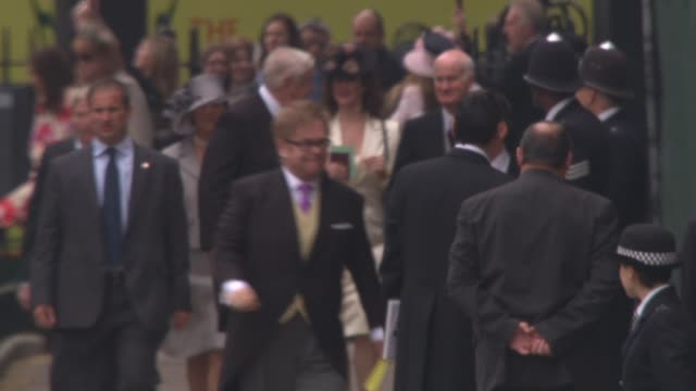 Elton John David Furnish at the Assorted Royal Wedding Footage NTSC HD at London England