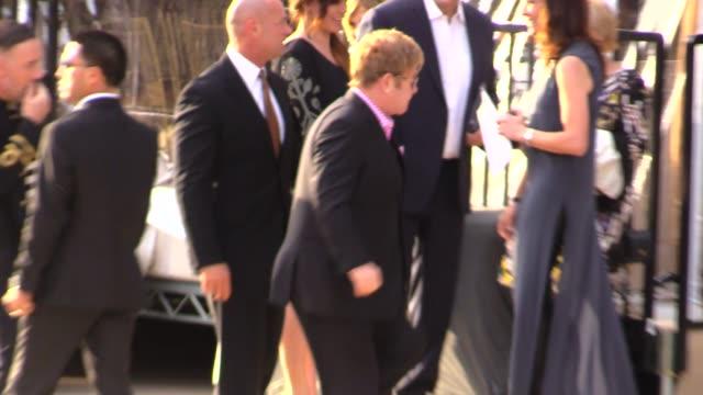 Elton John David Furnish enter The Geffen Gala in Los Angeles in Celebrity Sightings in Los Angeles