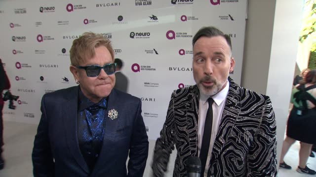 INTERVIEW Elton John David Furnish host the annual Elton John AIDS Foundation Presents 24th Annual Academy Awards Viewing Party on February 28 2016...