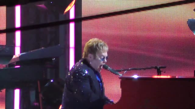 Elton John performing live on stage at Jimmy Kimmel Live in Hollywood in Celebrity Sightings in Los Angeles