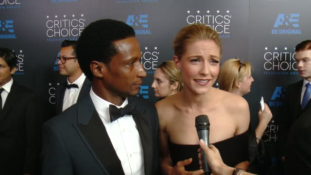 """elvis nolasco and caitlin gerard on being at the event, and on their series """"american crime"""" at the 2015 critics' choice television awards at the... - 放送テレビ批評家協会賞点の映像素材/bロール"""