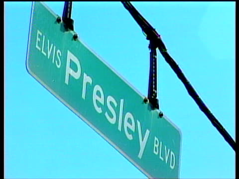 elvis presley boulevard street sign hanging from wires - tennessee stock videos & royalty-free footage