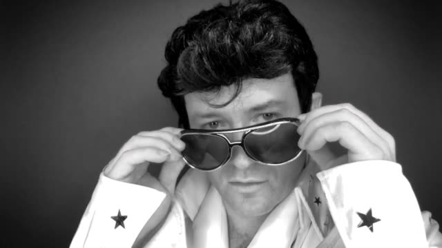 elvis tribute artist simon willis from shropshire poses during a portrait session at 'the elvies' on september 27, 2019 in porthcawl, wales. 'the... - tribute event stock videos & royalty-free footage