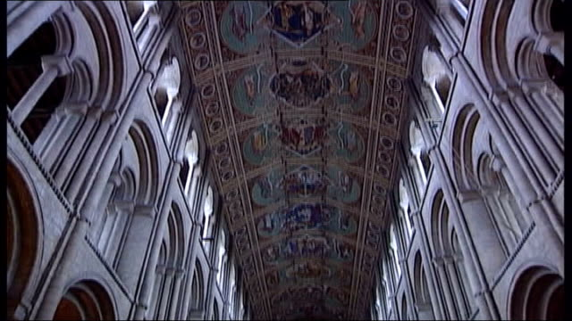 ely cathedral service held; itn england: cambridgeshire: ely cathedral: int gv ely cathedral tilt down - wells cathedral stock videos & royalty-free footage