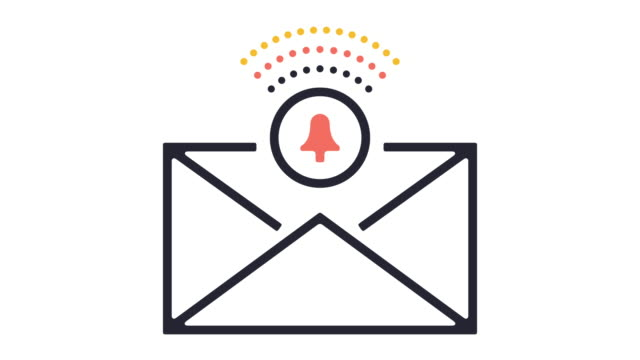 email alert line icon animation - alertness stock videos & royalty-free footage