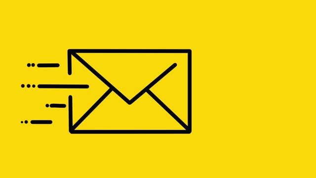 stockvideo's en b-roll-footage met e-mail animatie geel - e mail