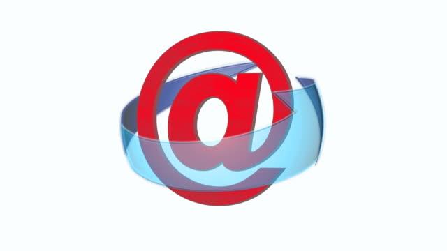 vídeos y material grabado en eventos de stock de correo electrónico en la flecha - símbolo de arroba