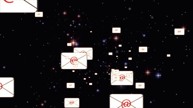 vídeos y material grabado en eventos de stock de vuelo de correo electrónico - símbolo de arroba