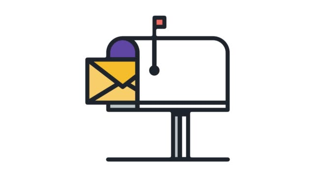 Email Hosting Service Line Icon Animation with Alpha
