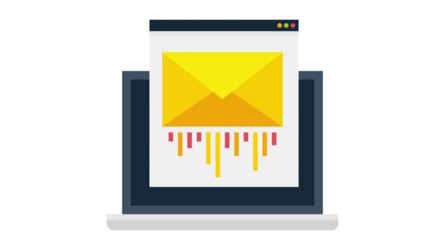 アルファ付きの電子メールマーケティンググリッチ効果アイコンアニメーション - e mail点の映像素材/bロール