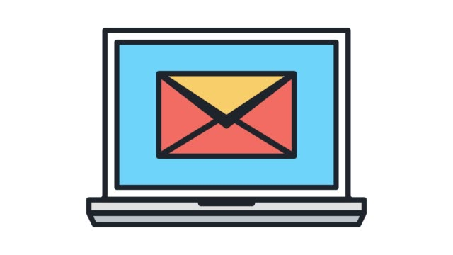 e-mail-marketing-linie symbol animation mit alpha - brief dokument stock-videos und b-roll-filmmaterial