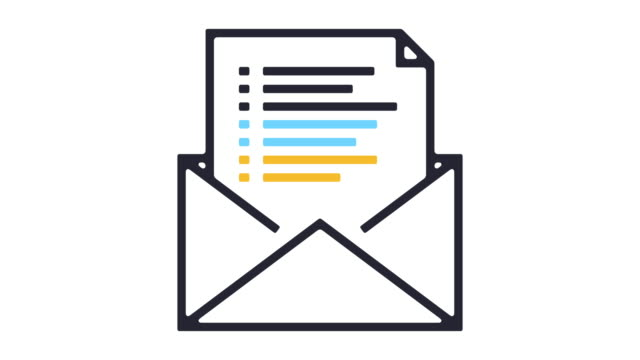 email newsletter line icon animation - e mail video stock e b–roll