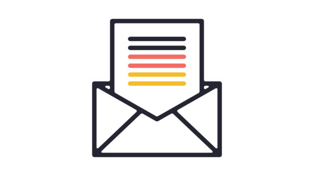 email newsletter line icon animation with alpha - newsletter stock videos & royalty-free footage